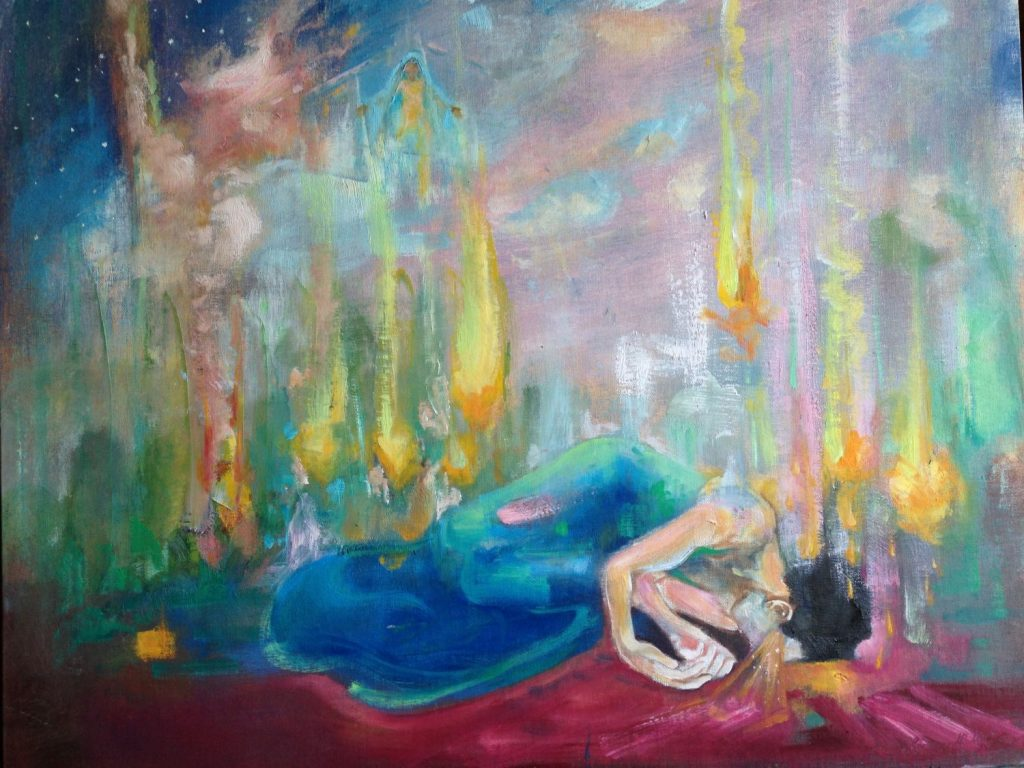 "{Get Down} 16"" x 20"", oil. So much memory loss and hallucinations. These experiences are unsettling, and they remove my sense of, how to say it... perceived solidity. These seizures in the emotional processing part of my brain give me such an intensity of feeling, that at times life feels unbearably tragic and unyieldingly exquisite. Too, there's the physical aspect. One took me down yesterday. The after burn comes with its mean yearning- I paint and it is a comfort. Though the body is low, the spirit is fresh. It is as if being so busted in regular life, the sun of what is can shine through. And I can see it. I can see that love and care are endless lines in the stream of living-ness; they are anchors into eternity. I can see that circumstance is a petty thing! Real life is lined up with what is unchanging. Real Life is lined up with Big Good. (and itty bitty invisible good). And every living person deserves beauty. Why do we only do beauty in nice neighborhoods? Why are prisons such ugly crapholes? ""Have you made bad decisions? We'd like to offer you isolation, contempt, ugliness, concrete, no nature, poor sleep, seizure-inducing lighting, and disrespect."" We're all: ""oh the last shall be first"", then in deed we're like: yeah the last should stay last."