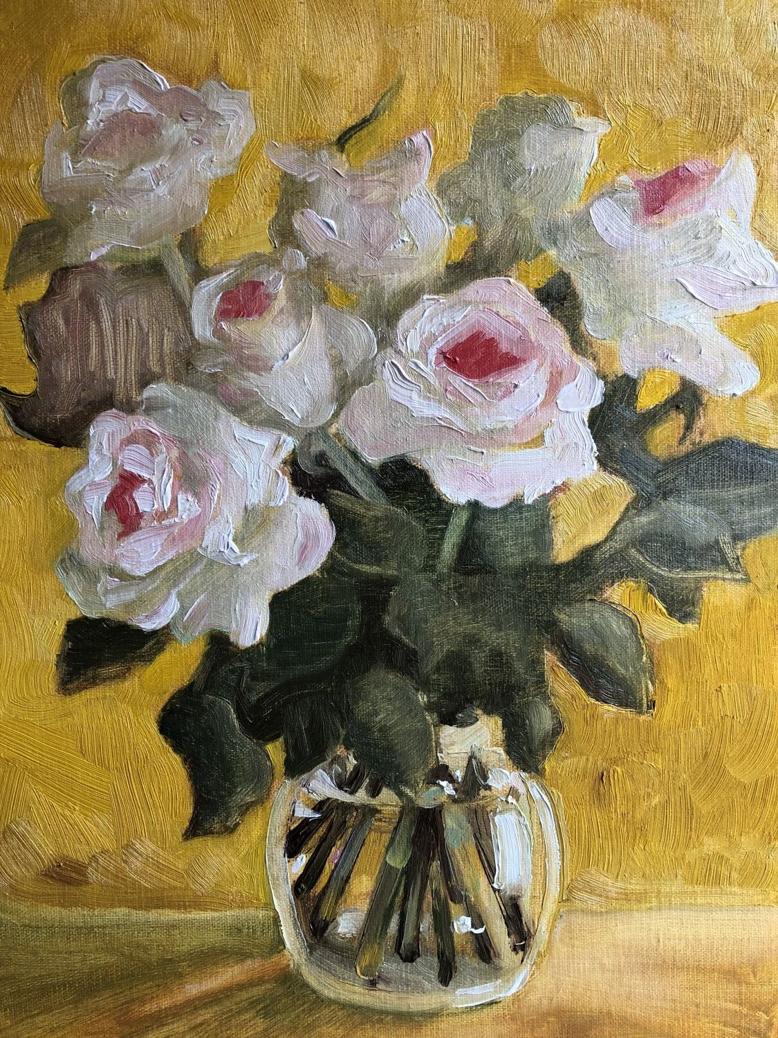 "White Roses on Yellow. (9x12"") Sold"